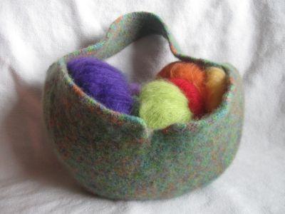 strickfilzkorb aus wash filz it multicolor fine verstrickt losgen ht. Black Bedroom Furniture Sets. Home Design Ideas